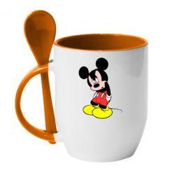 Кружка с керамической ложкой Злой Микки Маус - FatLine