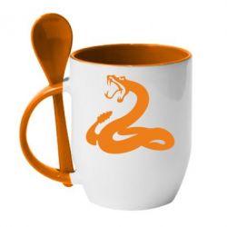 Кружка с керамической ложкой Змея - FatLine