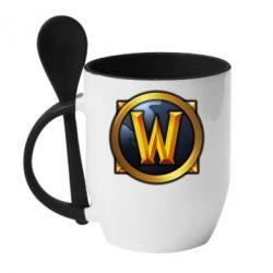 Кружка с керамической ложкой Значок wow - FatLine