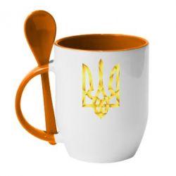 Кружка с керамической ложкой Золотий герб - FatLine