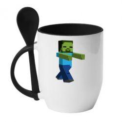 Кружка с керамической ложкой Зомби Minecraft - FatLine