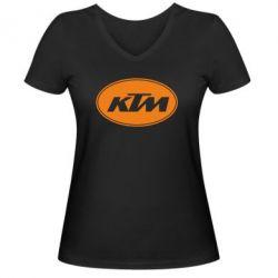 Женская футболка с V-образным вырезом KTM - FatLine