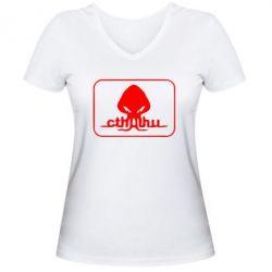 Женская футболка с V-образным вырезом Ктулху - FatLine
