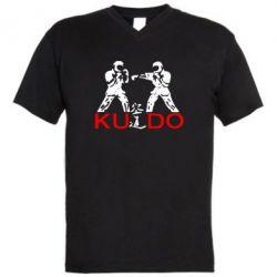 Мужская футболка  с V-образным вырезом Kudo Fight - FatLine