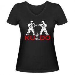 Женская футболка с V-образным вырезом Kudo Fight - FatLine