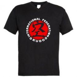 Мужская футболка  с V-образным вырезом Kudo - FatLine
