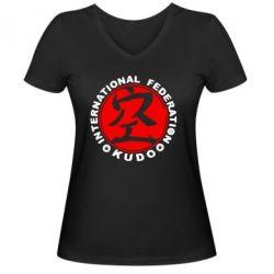 Женская футболка с V-образным вырезом Kudo - FatLine