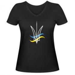 Женская футболка с V-образным вырезом Кумедний герб України - FatLine