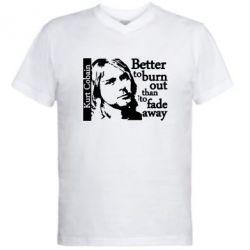Мужская футболка  с V-образным вырезом Kurt Cobain - FatLine