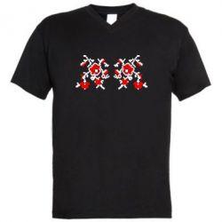 Мужская футболка  с V-образным вырезом Квітковий орнамент - FatLine