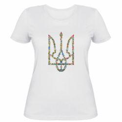 Женская футболка Квітучий герб України - FatLine
