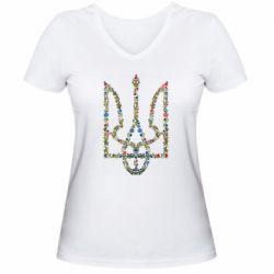 Женская футболка с V-образным вырезом Квітучий герб України - FatLine