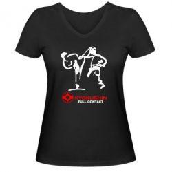 Женская футболка с V-образным вырезом Kyokushin Full Contact - FatLine