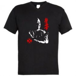 Мужская футболка  с V-образным вырезом Kyokushin Kanku logo - FatLine