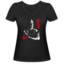 Женская футболка с V-образным вырезом Kyokushin Kanku logo - FatLine