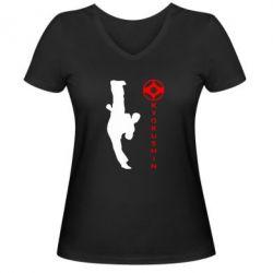 Женская футболка с V-образным вырезом Kyokushin Kick - FatLine