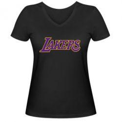 Женская футболка с V-образным вырезом LA Lakers - FatLine