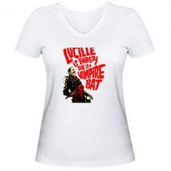 Женская футболка с V-образным вырезом Lacille is thirsty she is a vampire bat