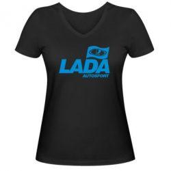 Женская футболка с V-образным вырезом Lada Autosport - FatLine