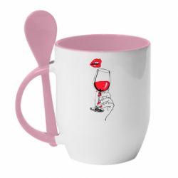 Кружка з керамічною ложкою Lady is drinking