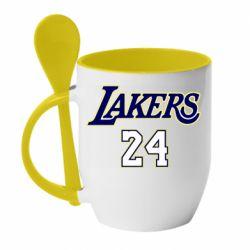Кружка с керамической ложкой Lakers 24