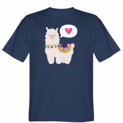 Мужская футболка Lama with pink heart