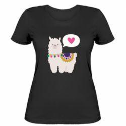 Женская футболка Lama with pink heart