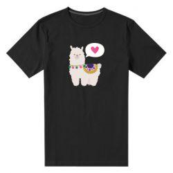Мужская стрейчевая футболка Lama with pink heart