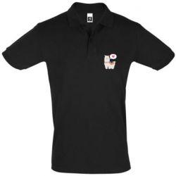 Мужская футболка поло Lama with pink heart