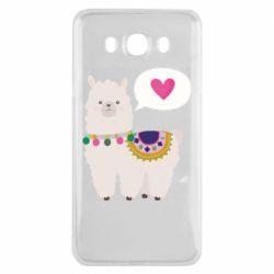 Чехол для Samsung J7 2016 Lama with pink heart