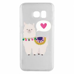 Чехол для Samsung S6 EDGE Lama with pink heart