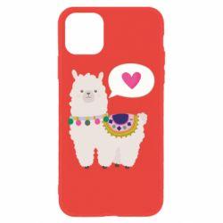 Чехол для iPhone 11 Lama with pink heart