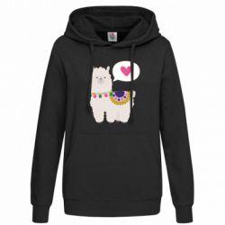 Женская толстовка Lama with pink heart