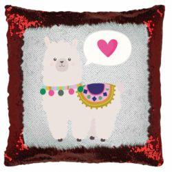 Подушка-хамелеон Lama with pink heart