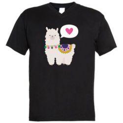 Мужская футболка  с V-образным вырезом Lama with pink heart