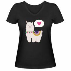 Женская футболка с V-образным вырезом Lama with pink heart