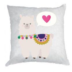 Подушка Lama with pink heart
