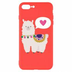 Чехол для iPhone 7 Plus Lama with pink heart