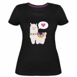 Женская стрейчевая футболка Lama with pink heart