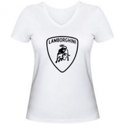 Женская футболка с V-образным вырезом Lamborghini Auto - FatLine