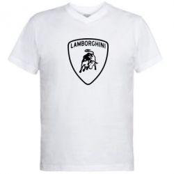 Мужская футболка  с V-образным вырезом Lamborghini Auto - FatLine