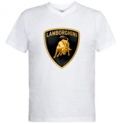 Мужская футболка  с V-образным вырезом Lamborghini Logo - FatLine