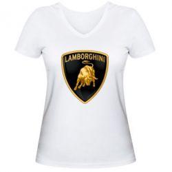 Женская футболка с V-образным вырезом Lamborghini Logo - FatLine