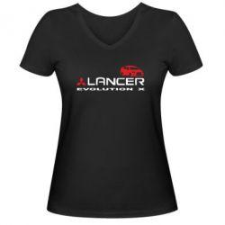 Женская футболка с V-образным вырезом Lancer Evolution X - FatLine