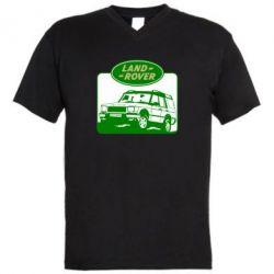 Мужская футболка  с V-образным вырезом Land Rover - FatLine