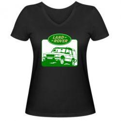 Женская футболка с V-образным вырезом Land Rover - FatLine