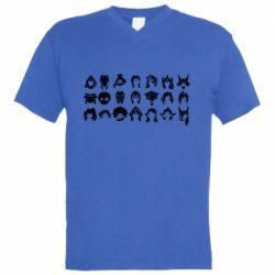 Мужская футболка  с V-образным вырезом League of Legends all characters