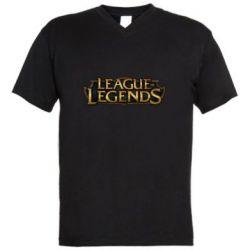 Мужская футболка  с V-образным вырезом League of legends logo