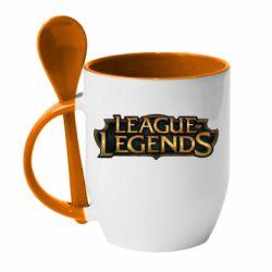Кружка с керамической ложкой League of legends logo