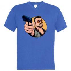 Чоловіча футболка з V-подібним вирізом Лебовськи з пістолетом